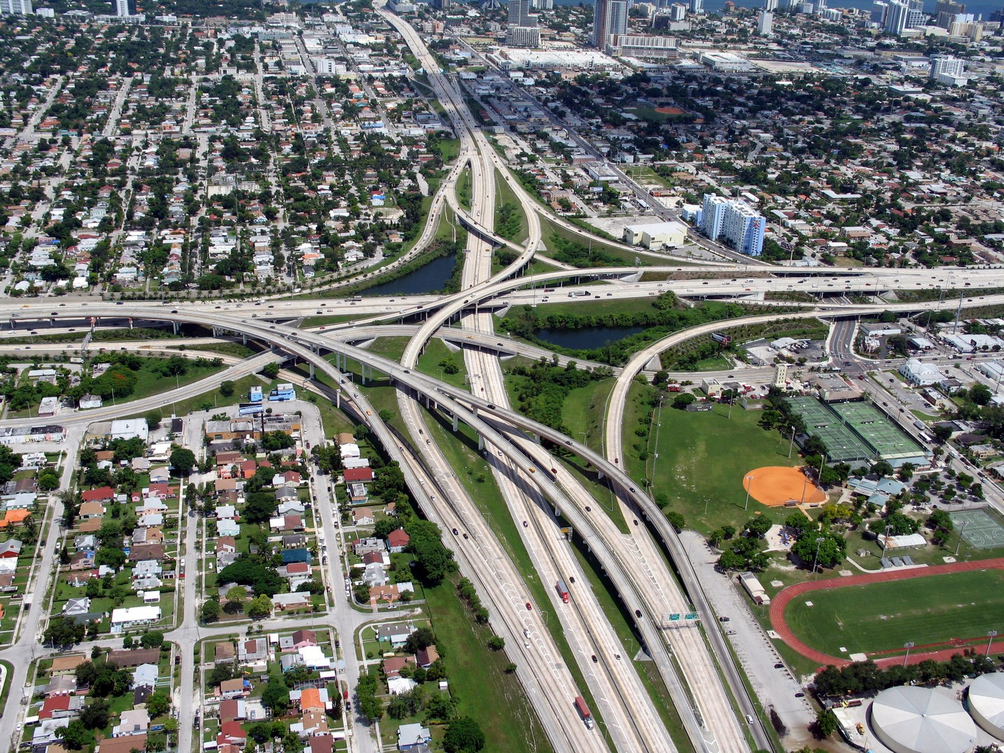 Aerial view of the Miami I-95