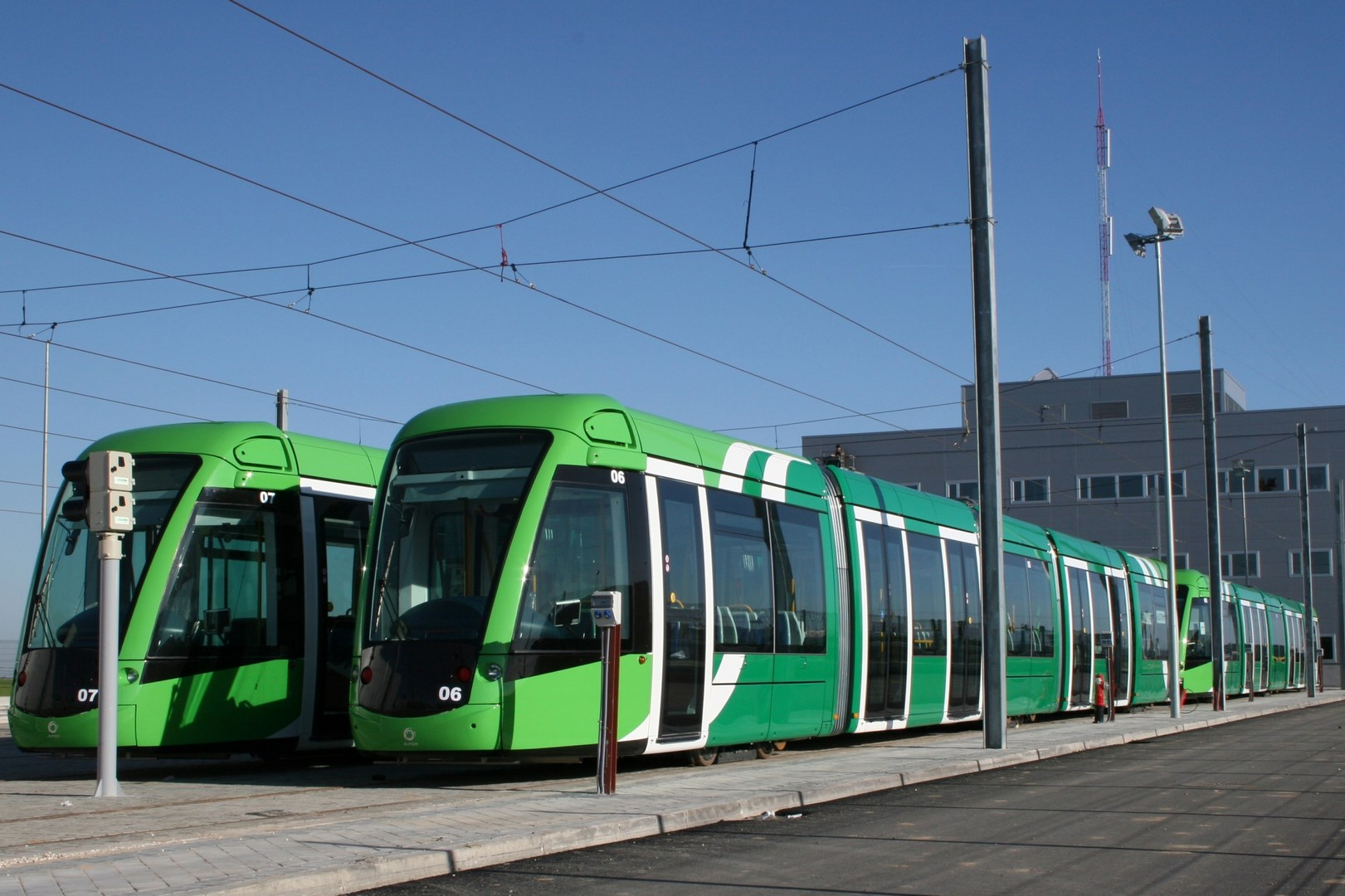 View of the tramcars circulating through Parla on the tracks