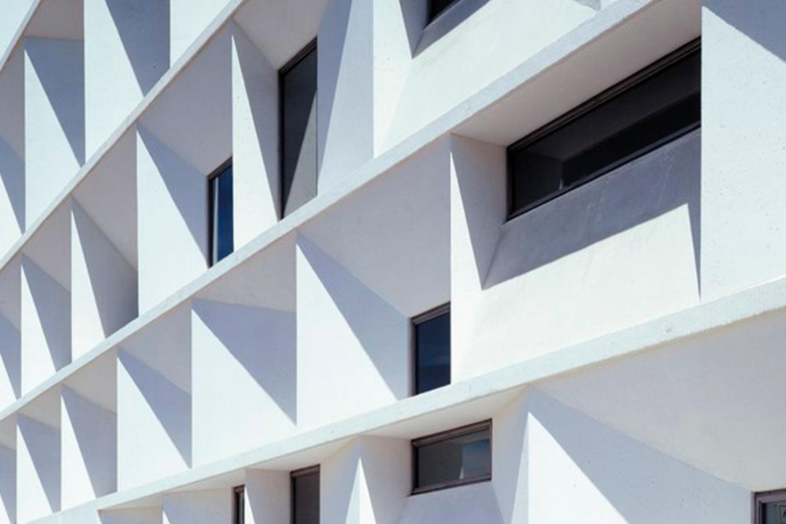 Close-up of the façade