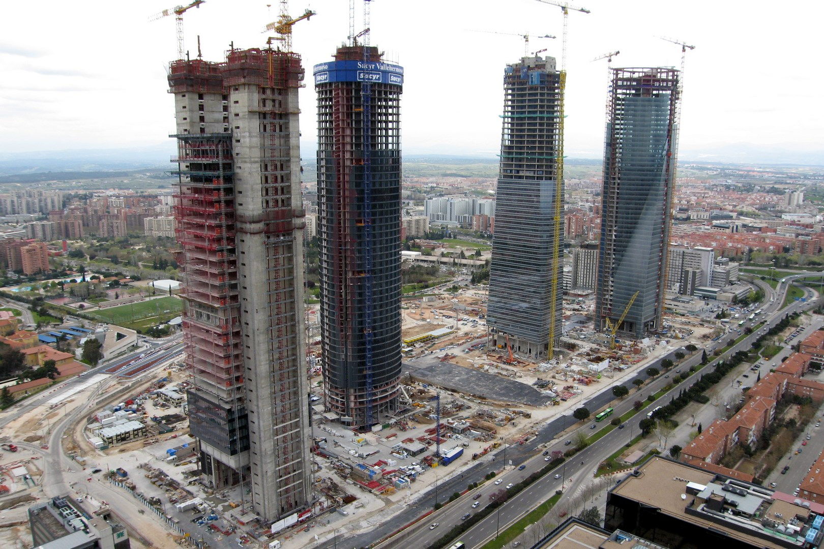 The towers under construction