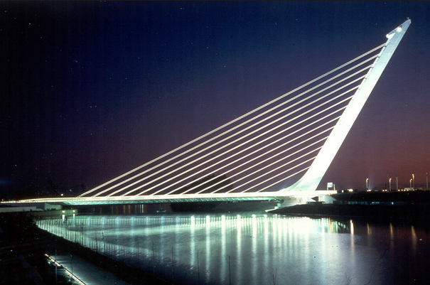 Panoramic nighttime view of the Alamillo Bridge
