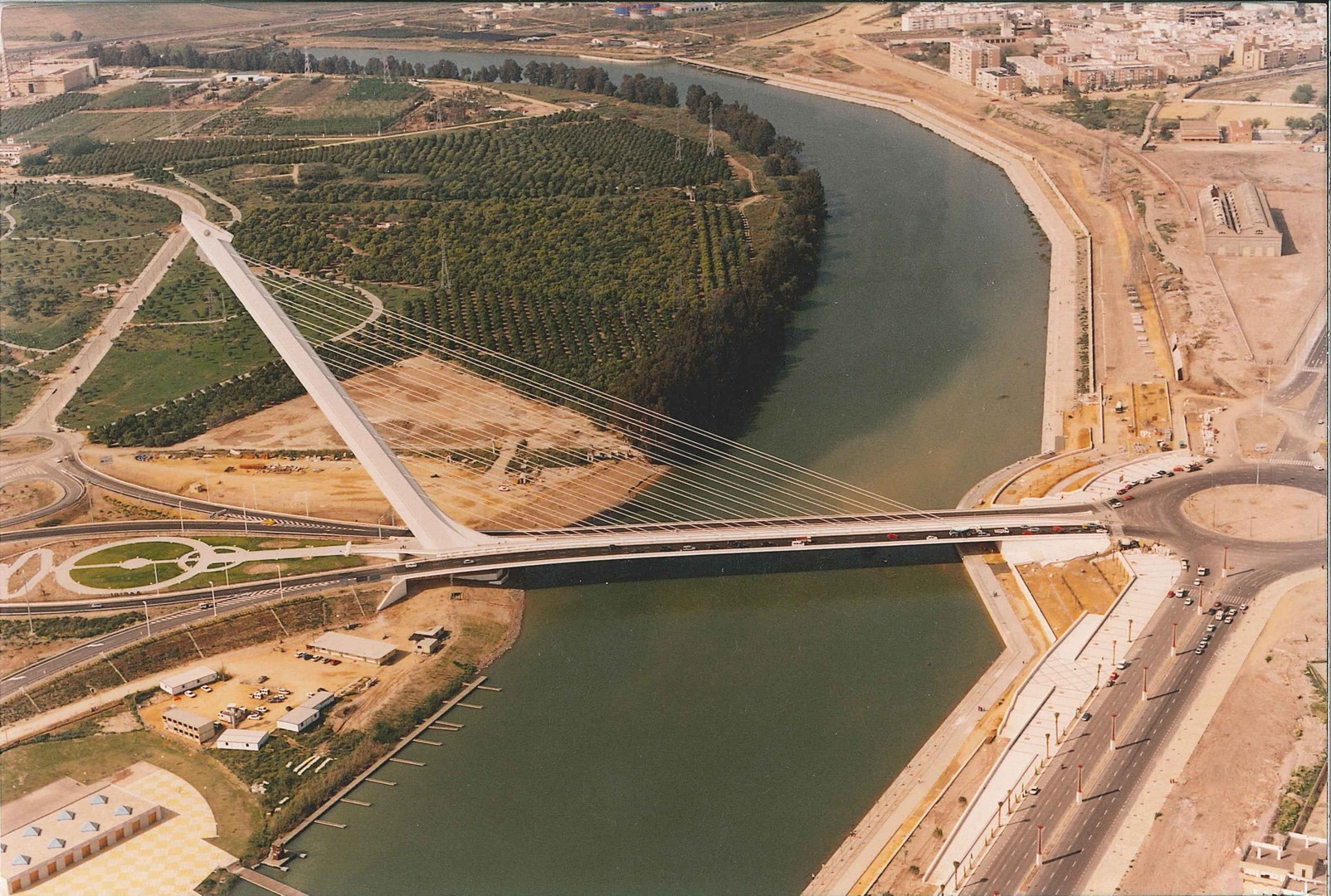 Aerial view of the Alamillo Bridge