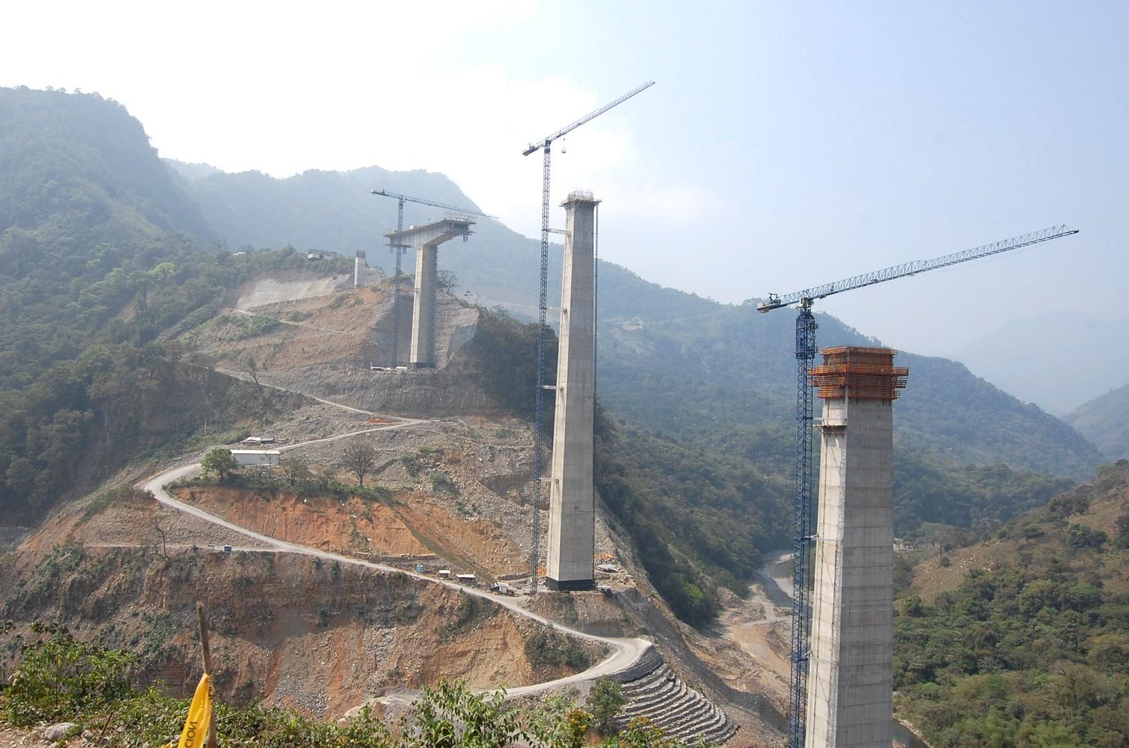 Obras de construcción del Viaducto de San Marcos