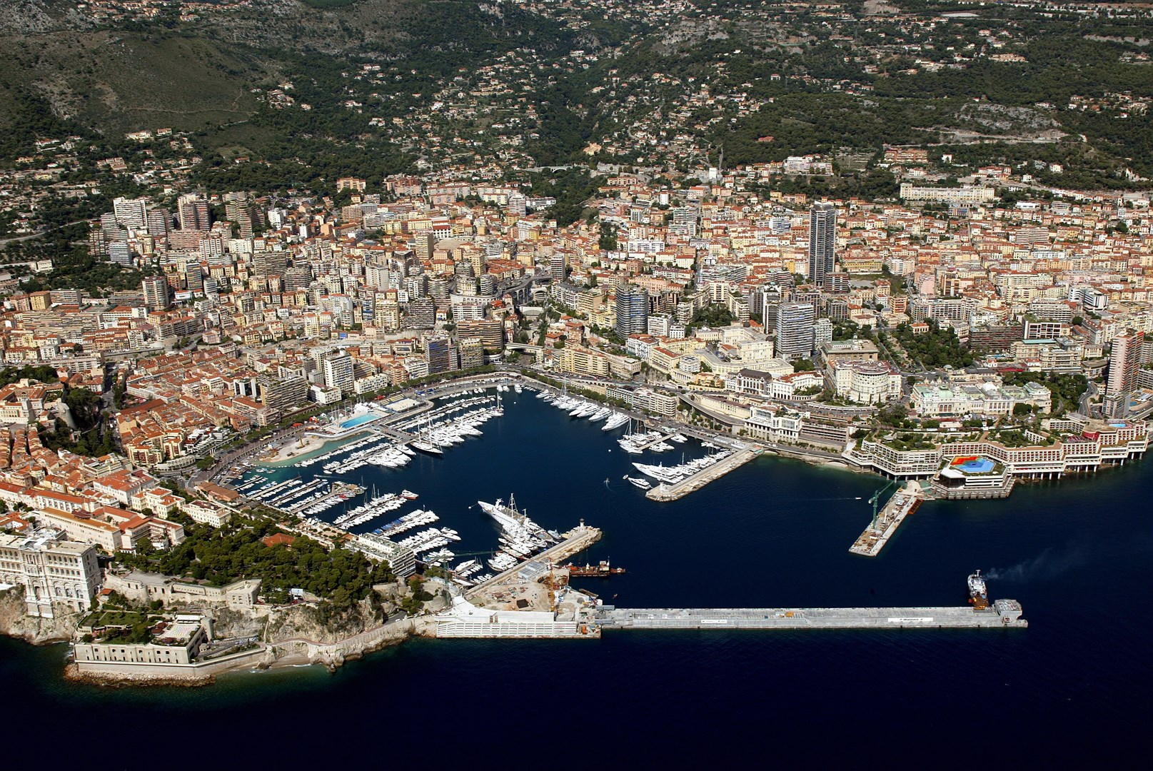 Aerial view of the Monaco floating dock