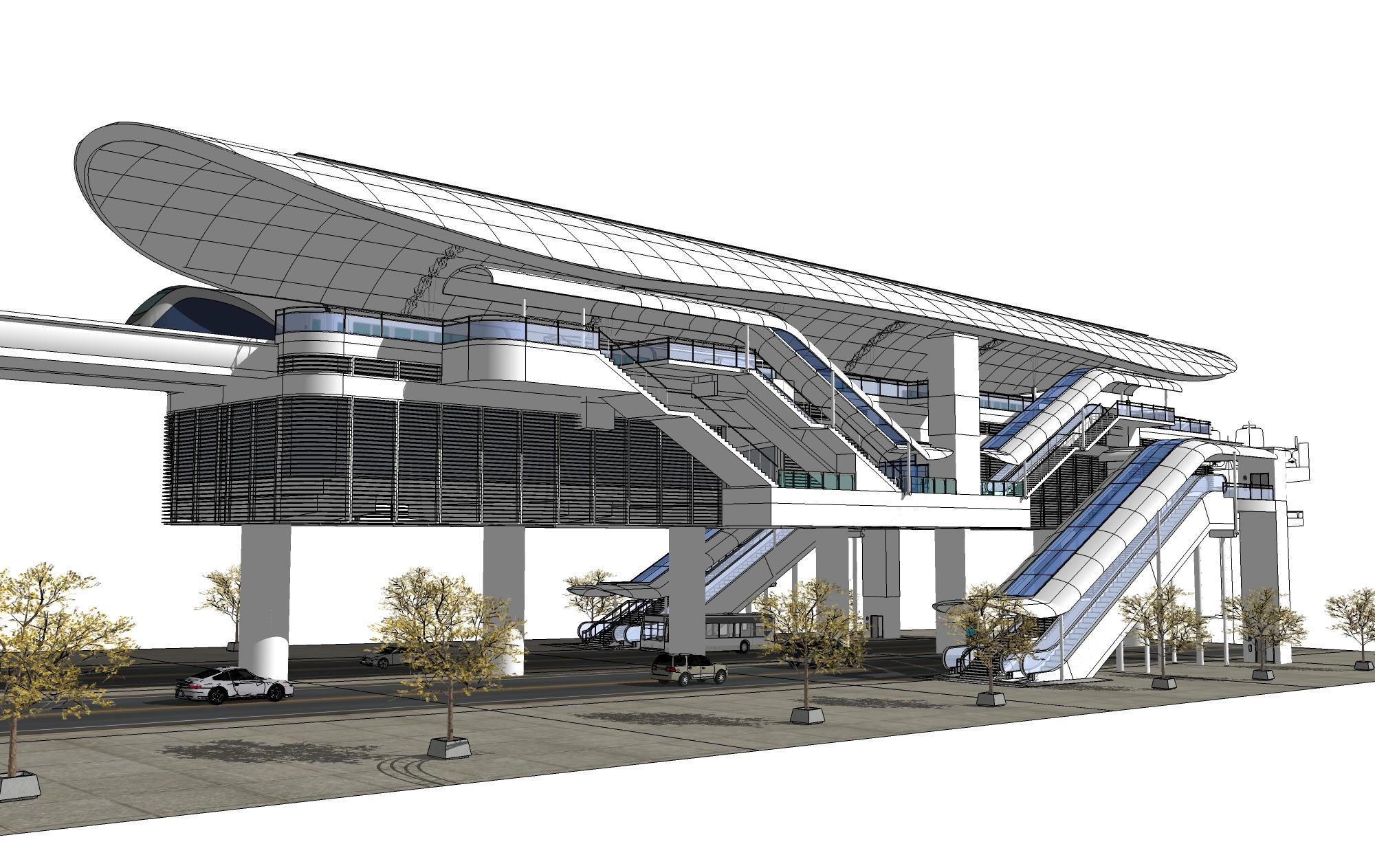 Infografía tramo elevado estación